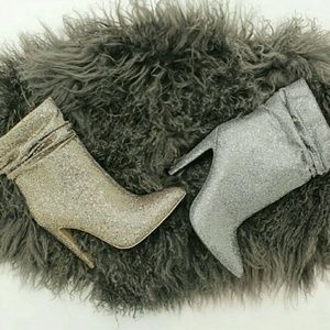 Silver Sparkle Heeled Booties